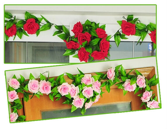 240cm Fake Silk Roses Ivy Vine Artificial Flowers with Green Leaves For Home Wedding Decoration Hanging