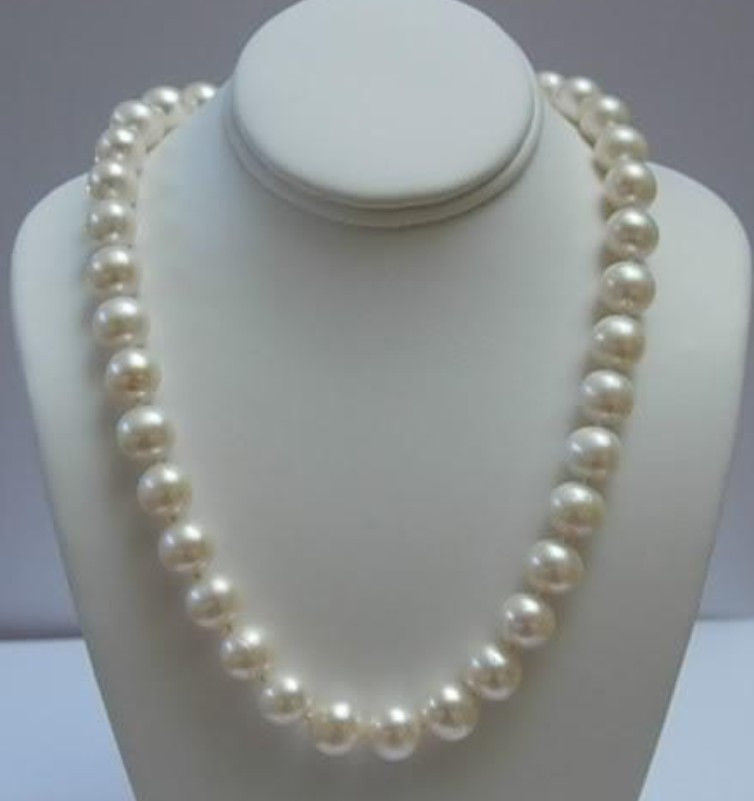 "Free shipping Natural + ELEGANT 11-12 MM WHITE AKOYA PEARL NECKLACE 17""+008(China (Mainland))"