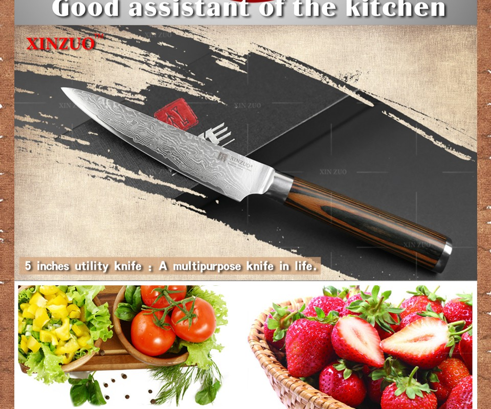"Buy XINZUO 5"" Utility knife Japanese VG10 Damascus steel kitchen knife paring fruit knife colour wood handle wholesale FREE SHIPPING cheap"