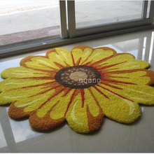 Free shipping fashion luxary single yellow chrysanthemum carpet for living room carpet slip-resistant mat 90*90 cm(China (Mainland))