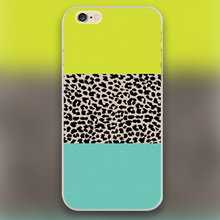 leopard yellow green color Design transparent case cover cell mobile phone cases for iphone 4 4s 5 5c 5s 6 6s 6plus hard shell
