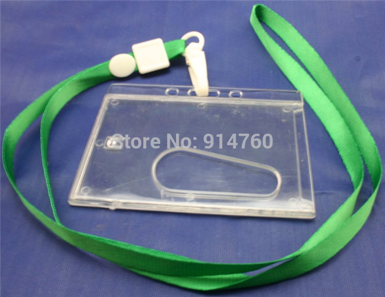 Wholesale Green Polyester Lanyard Neck Strap Swivel Hook Horizontal Transparent Hard Plastic Holder ID Card Holder Pack of 20(China (Mainland))