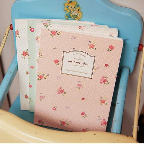 12pcs/lot New sweet vintage rose flowers notebook/ diary / A5 book / Office & School Supplies WJ0195(China (Mainland))
