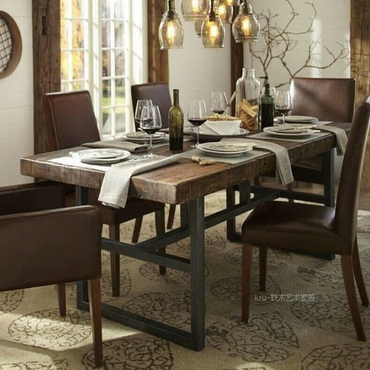 American country wood dining table custom manufacturers wholesale iron table desk long table dinette combination<br><br>Aliexpress