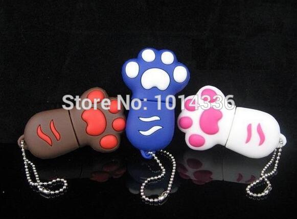1/2/4/8/16/32GB Cute cat paw footprint USB Flash 2.0 Memory Drive Stick Pen Thumb/Car/Pen creative Gift creative Pendrive S3(China (Mainland))