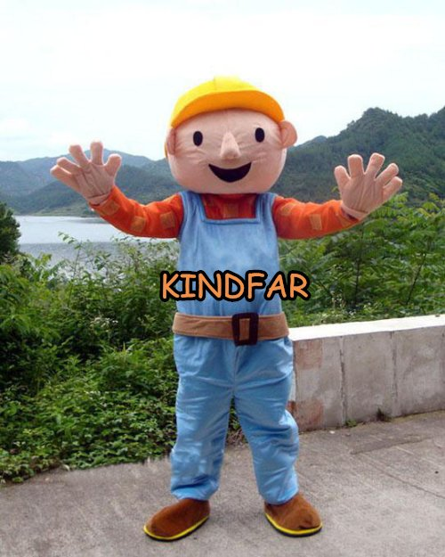 Bob Builder Cartoon Mascot Costume Adult Halloween Party Outfits Fancy Dress  -  Kindfar Factory store