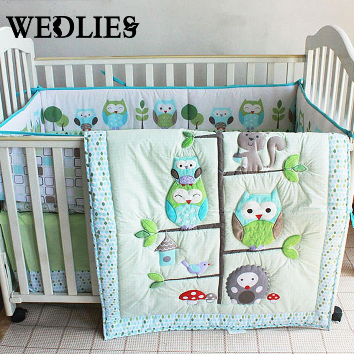 7pcs Cotton Baby Bedding Set Owl Family Nursery Cartoon Bed with Quilt Bumper Sheet Fitted Cover Dust Ruffle for Boys Girls(China (Mainland))