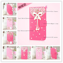 Luxury 3D flower Butterfly Bling Diamond Holster Back Cover Skin Flip PU Leather case LG Optimus L4 II E440 Case - New Fashion Group store