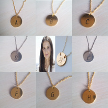 Europe necklace zinc alloy disc pendant simple letter English alphabet necklace SILVER(China (Mainland))