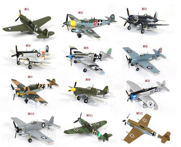 Free shipping 1/72 model plane 6'' world war II Night Cat/Mustang/ Warhawk F6F F4U German fighter aircraft figures retail