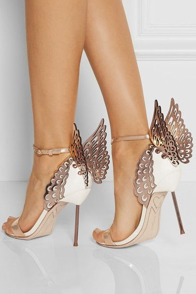2015 newest design Rose Gold/White contrast color Angel Wing Sandals high metal stiletto heel dress shoes(China (Mainland))