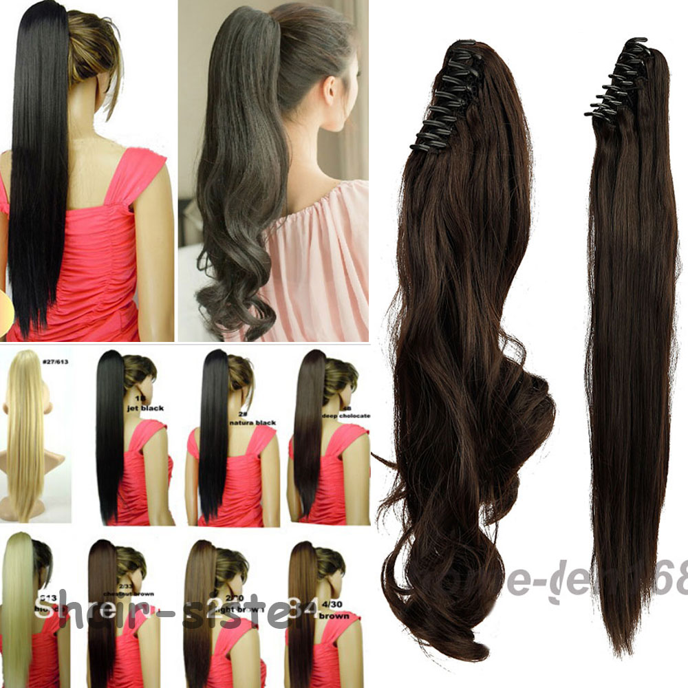 S-noilite hair Jaw Long Ponytail Clip in pony tail Hair Extensions Claw on Ponytails Hairpiece Local Warehouse Fast Shipping(China (Mainland))