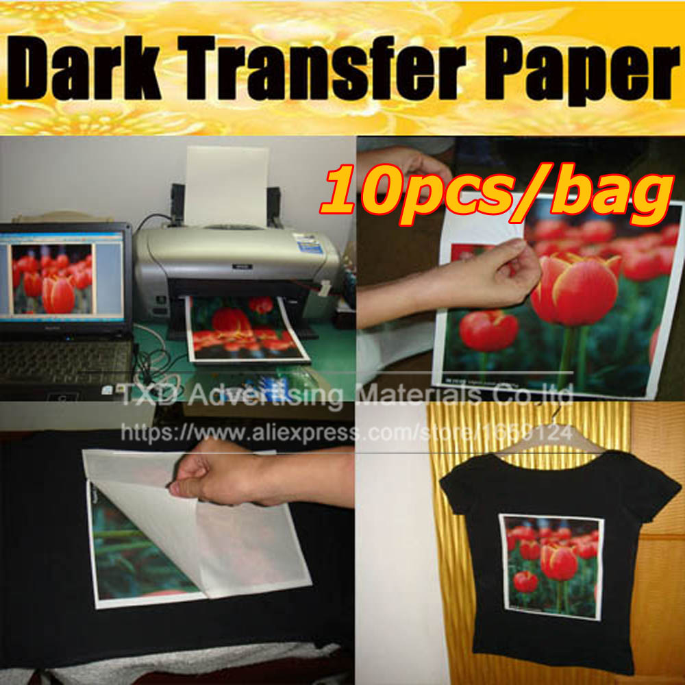 Free shipping New 10 Sheets Iron On Inkjet Print Heat Transfer A4 Paper paint paper For dark black textiles Fabric T-Shirt(China (Mainland))