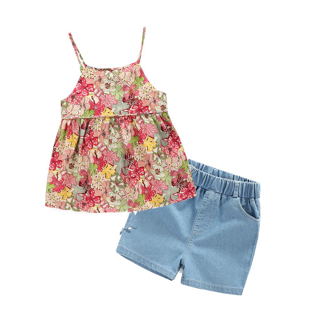 new Children's fashion Flowers vest + demin shorts baby girls clothing clothes summer clothing set(China (Mainland))