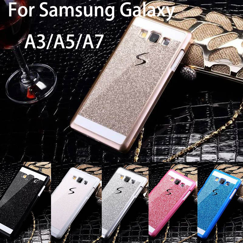 Bling Luxury phone case for Samsung Galaxy A3 A5 A7 Shinning back cover Sparkling case for Galaxy A3000 A5000 A700 Free Gift !