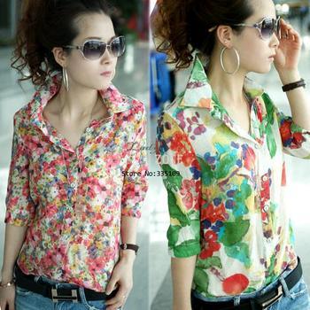 New Ladies Stylish Retro Yarn Halter Flower Pattern Shirt Slim Blouse Retro Tops Free Shipping 34