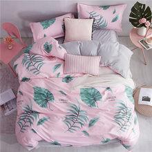 Home Textile Summer Bedding Set Brife Style Flat Sheet Geometric Bed Set Leopard Bed Linens White Grid Duvet Cover Set King Size(China)