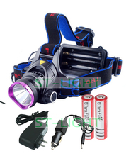 2000 Lumens Headlamp Light for Outdoor Fishing Head Torch CREEXML T6  LED Headlight +2*18650 Battery+Charger+Car Charger(China (Mainland))