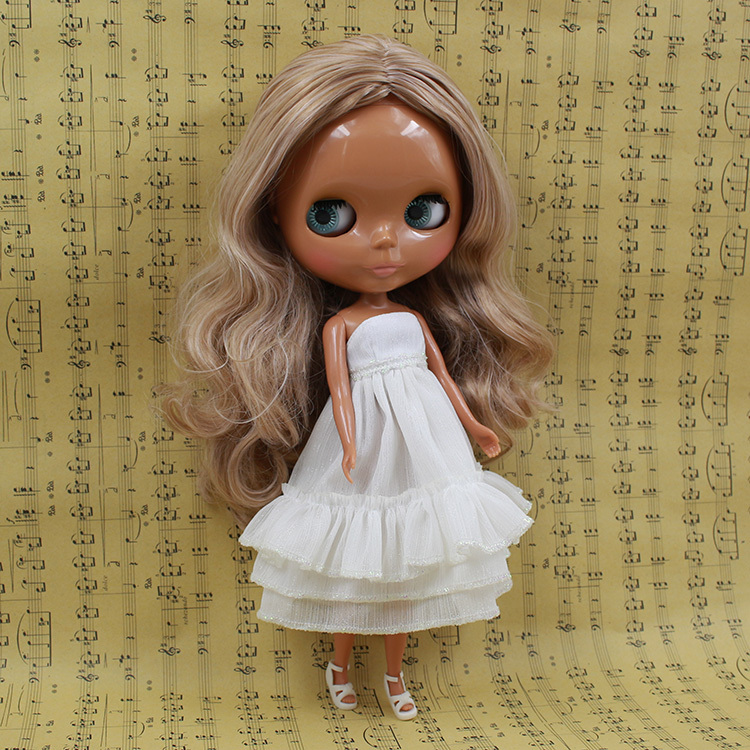 BlythDoll For Series No.230BL10599400 no bangs  white mix Brown hair Suitable For DIY Change BJD Toy For Girls<br><br>Aliexpress