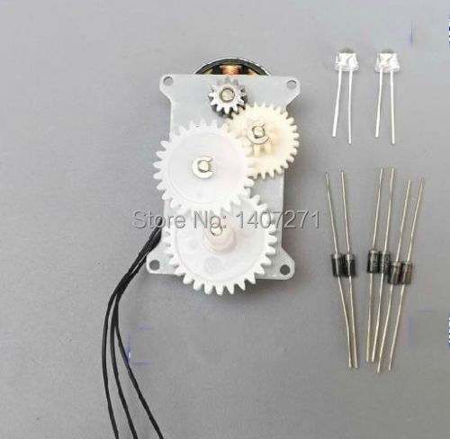AC Dynamo Micro Hand generator Brushless Gear motor With 6 Rectifier diode+2 led free shipping(China (Mainland))