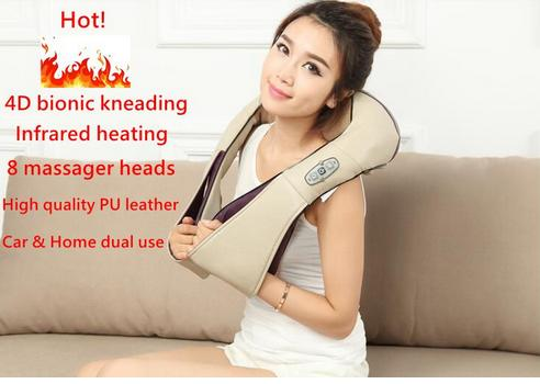 Hotseler-Multifunction health care car home pillow massager acupuncture kneading heating neck shoulder massager anti cellulite(China (Mainland))