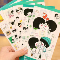 Korean Style Boys and Girls Sweet Couples PVC Sticker Diary Scrapbooking Notebook Exercise Book Decoration Crafts (1set=5sheets)