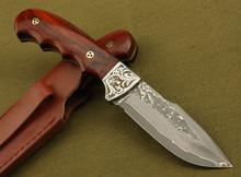 100% ручной работы дамаск нож с четко шаблон красного сандалового дерева ручка бутик коллекцию небольшой прямой ножом