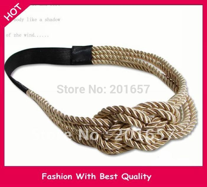 2015 NEW Gossip Girl Jennifer Design handmade knitting rope design Elastic headband hair accessory 1pc(China (Mainland))