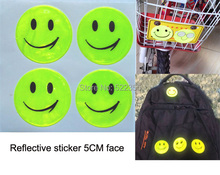 1 sheet(4 pcs), 5CM Reflective sticker smile face for motorcycle,bicycle,kids toy,any where for visible safety, free shipping(China (Mainland))