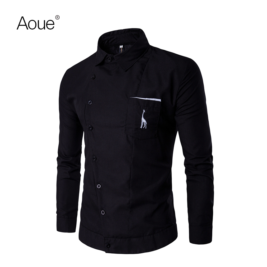 Aoue 2017 Spring High Quality Shirt chemise Brand Shirts men Dress Social male Men Long Sleeve emboridery Shirt(China (Mainland))