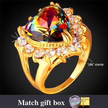 Engagement Ring With Gift Box Women Fashion Jewelry 18K Real Gold Plated Mystic Topaz Cubic Zircon Crystal Heart Ring R1184