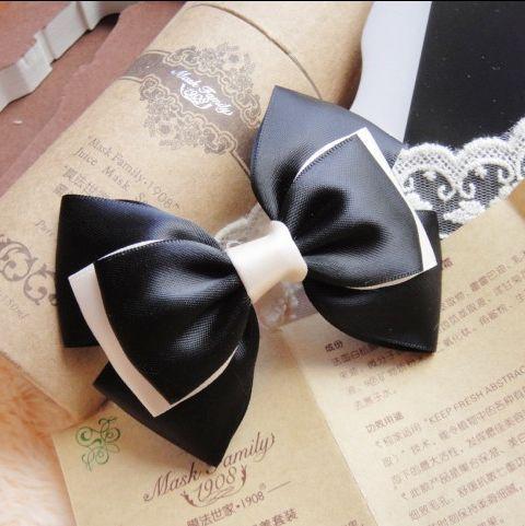 Handmade bow hairpin hair accessory plain elegant black ribbon big hair pin hair maker hair accessory(China (Mainland))