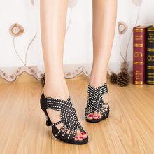 Customize heels Yellow Blue Black Quality women dance shoes Fashion Rhinestone latin shoes Dancing shoes for women 6353