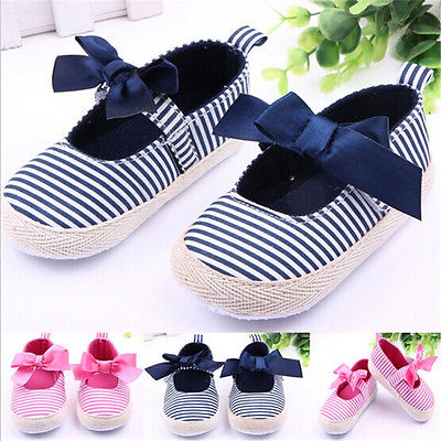 Stripe Soft Infant Girls Baby Prewalker Bowknot Polka Trainers Shoes SZ 3-12M(China (Mainland))