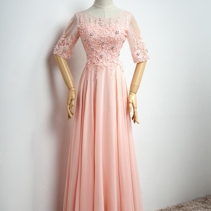 2016 cheap long lace nude pink half sleeves bridesmaid for Cheap lace wedding dresses with sleeves