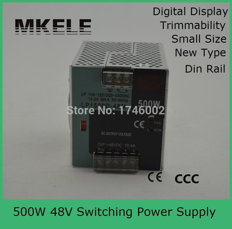high watts 500w 48V din rail small size din rail switching power supply LP-500W-48 10.4A show 48vdc voltage with 10% adjustment(China (Mainland))