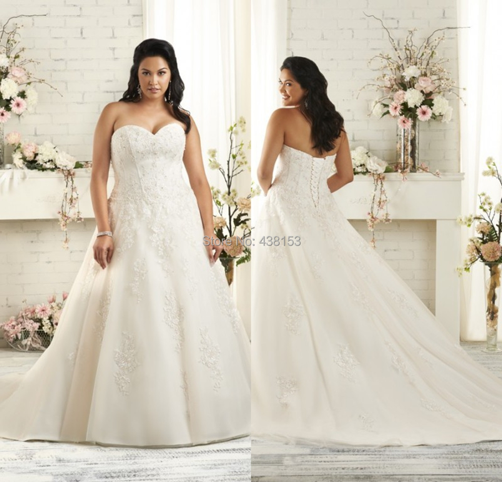 Smart Elegant Gown A-line Organza with Appliques Design Sleeveless Sweet Plus/Large Size Wedding Dresses 2014()