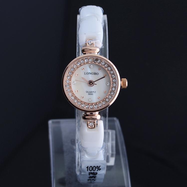 New Brand Longbo Women watch Quartz ceramic Diamante Watch gold plating Luxury Dress watch with ceramic watchband LONGBO 8890(China (Mainland))