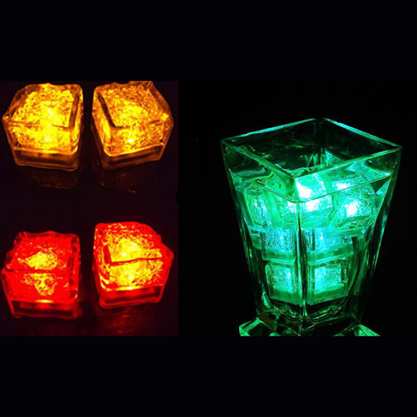 Free shipping 12pcs/lot Wholesale Lamps High quality wedding celebration LED Glow Ice Cubes novelty party Sparkling Light Ice(China (Mainland))