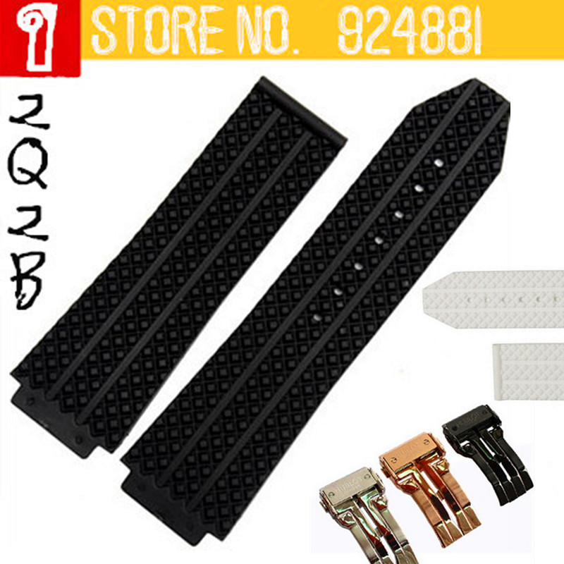 26mm/25mmx19mm(buckle lug=22mm) Rubber Watch Bands for HUB Black White Silicone Straps Litchi/Tyre Pattern with LOGO TOP Quality<br><br>Aliexpress
