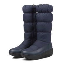 Kadın Kış Kar Botları PU deri uzun kış platformu düz çizmeler kadın diz Çizmeler üzerinde 2019 kadınlar için kalın kürk botları(China)