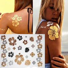1 Sheet  Flower Design Metallic Flash tattoo Body Art Tattoos Sticker, Waterproof Non-Toxic Temporary Tattoo