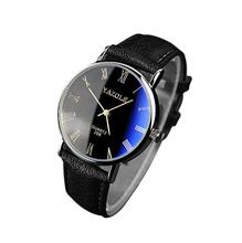 Hot sale Luxury Black Fashion Faux Leather Mens Quartz Analog Watch Watches Relogio Masculino
