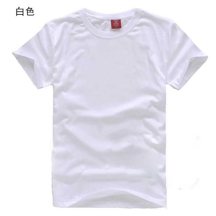 Blank t shirt white 100 cotton o neck short sleeve male for Heat pressed t shirts