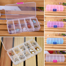 4 Colors 10 Grids Adjustable Jewelry Tool Box Beads Pills Organizer Nail Art Tip Storage Box Case hard transparent Plastic &ST87(China (Mainland))