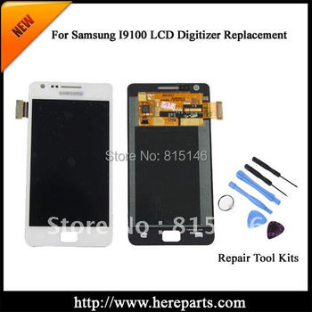 Full 4.3' size  100% Original  For Samsung  Galaxy S2 i9100 LCD  with Touch Screen Digitizer Assembly -White Free shipping