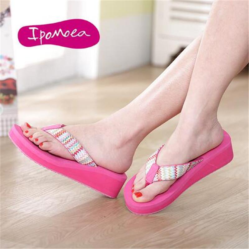 2016 New Fashion Summer Women Sandals wedges Heels Flip Flops Beach Wedge Sandals black Strap Platform Wedge Flip Flops(China (Mainland))