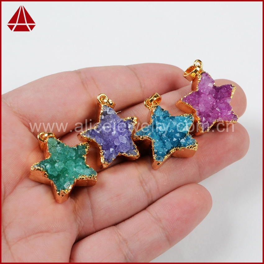 Fashion Druzy bead Star Agate Geode Gold Plated Titanium AB Colors Necklace jewelry G419 - Shop500069 Store store
