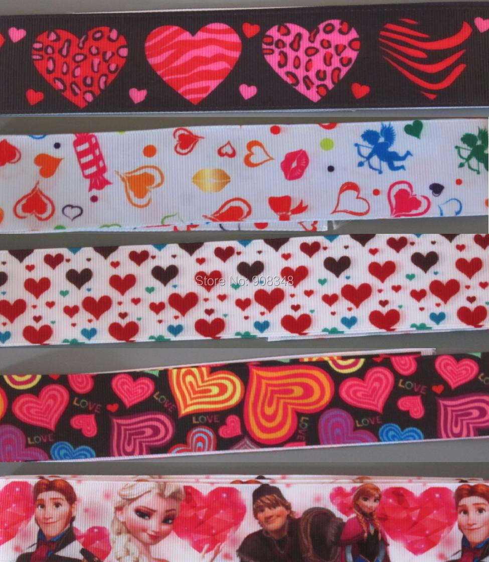 Pick Size 9 16 22 25 38 50 75 mm Width Valentine sweet love Hearts Printed Grosgrain Ribbon Valentine's Day Ribbons H25(China (Mainland))