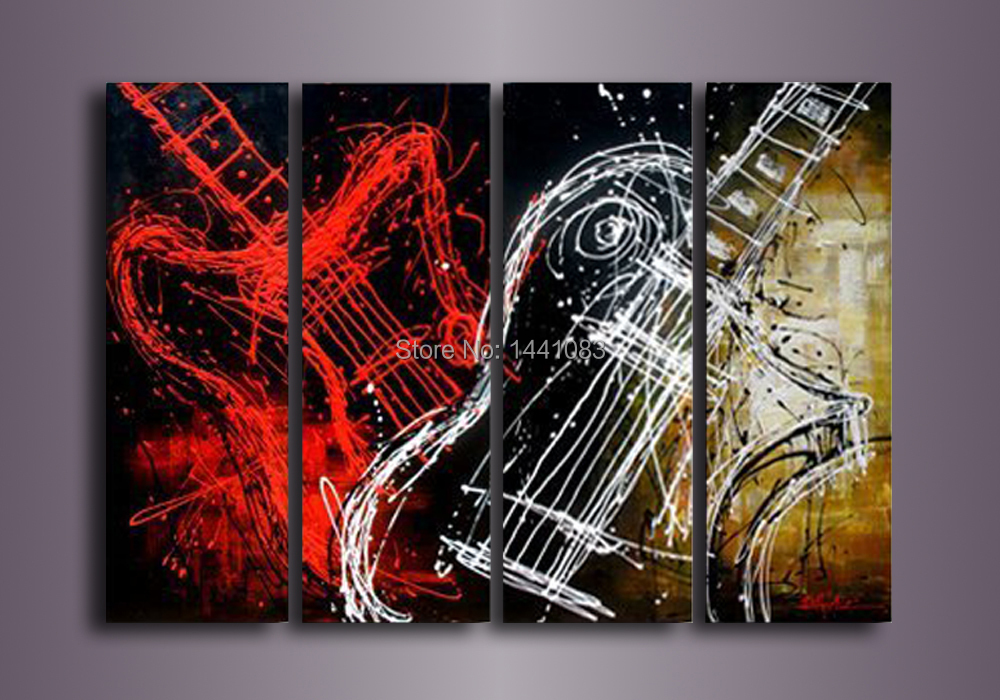 item High Large Quality Red White gibson guitar Abstract Oil Painting On Canvas Art Cheap  Piece